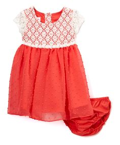 Coral Lace Bodice Dress & Diaper Cover - Infant