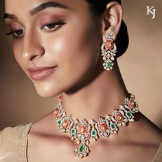 A unique fusion necklace-earring suite with diamond polki, full-cut diamond, coral and emerald. Diamond Solitaire Earrings, Black Diamond Earrings, Diamond Jewelry, Indian Diamond Necklace, Diamond Necklace Set, Diamond Pendant, Coral Jewelry, Wedding Jewelry, Modern Jewelry
