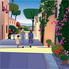 by Kim Johnson, 'Italian family out for an afternoon walk'