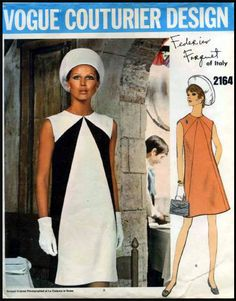 Vogue 2164; Vogue Couturier Design; Circa: 1969; Designer: Federico Forquet; Description: High-fitted slightly A-line sleeveless dress with or without contrast, has front and back seaming detail. Jewel neckline.