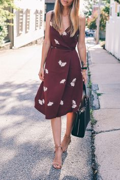 Pretty burgundy wrap dress - lovely for an engagement party dinner (Ann Taylor New Arrivals Inspo on Jess Ann Kirby)