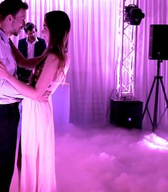 Everyone loves our Dancing on Clouds. The dry ice creates a thick fluffy white cloud. To really enhance the effect we use special lighting which slowly fades through soft colours.