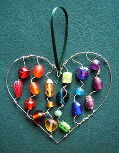 Rainbow Beaded Heart - a suncatcher by Sneddonia, via Flickr