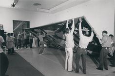 "MoMA staff dismantling Pablo Picasso's ""Guernica"" (1937) for shipment to Spain. Photo taken on September 8, 1981 by Mali Olatunji. Image © The Museum of Modern Art, New York  seen on MoMA Flickr  (submitted by miseengreen)  http://installator.tumblr.com/#"