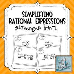 Simplifying Rational Expressions Scavenger Hunt Math Center Rotations, Math Centers, Algebra 2, Calculus, Simplifying Rational Expressions, Simplifying Radicals, Radical Expressions, College Classes, Math Class