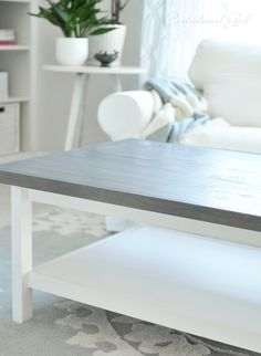 weathered gray wood top hemnes coffee table...ikea hack this is pretty much EXACTLY what I want to do to my ikea lack coffee table!
