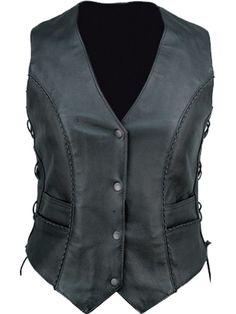 UNIK Women's Black Microbraid Leather Motorcycle Vest