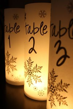 Snowflake Table Number Luminaries by thepaperynook on Etsy, $2.50