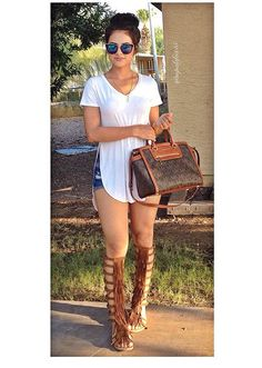 Gladiator sandals with shorts and tshirt dress