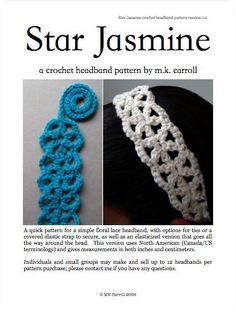 Star Jasmine (Free Chart, Headband Pattern for purchase) — MK Carroll  (speed test:  < 1 hr)