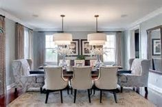 Transitional dining room in cream and light blue. Very nice.
