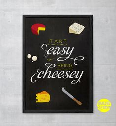 Kitchen Wall Art Print Chalkboard Cheese Food by ShallueAndCrew, $6.70
