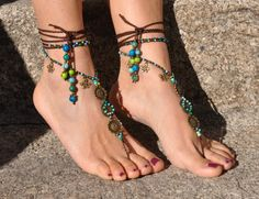 SEA MANDALA barefoot SANDALS foot jewelry hippie sandals toe anklet beaded crochet barefoot tribal sandal festival acai seed yoga wedding