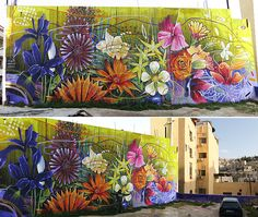 Sabotaje al Montaje in Spain Murals Street Art, Graffiti Murals, Street Art Graffiti, Wall Murals, Amazing Street Art, Amazing Art, Reverse Graffiti, Flower Mural, Chalk Art