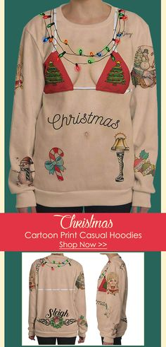 Casual Christmas Cartoon Print Long Sleeve Sweatshirt