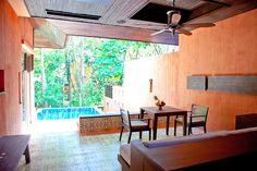 Outdoor Living area in One Bedroom Family Suite Garden View ,Sri Panwa, Luxury Pool Villa Hotel. Phuket,Thailand