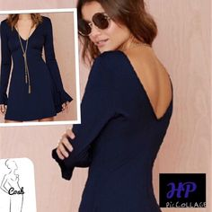 HP! Navy Blue Mini Dress Navy Blue Mini Dress with Deep V in the Front & Back. Dress has long sleeves with ruffle @ end of sleeve. Dress is fitted. Dress this up or wear casually. Poly & Spandex. Have Small-Large. Large is 18 in. flat & 32 in. Long. Medium is 16 in. flat & 32 in. Long. Small is 14 in. flat & 31 in long. Large is SOLD! Cycle Boutique Dresses Mini