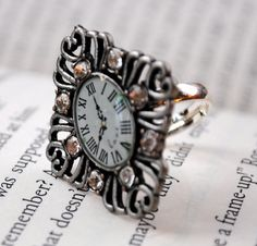 Want!   Silver Clock Adjustable Ring with Diamonds by KellyStahley on Etsy, $12.00