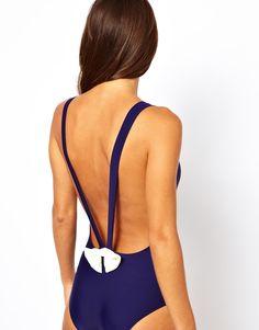 ASOS Bow Back Plunge Swimsuit