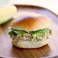 Slow Cooker Chicken Caesar Sandwiches- These were very good and exactly as advertised... The only thing I did different was to use chicken stock instead of water when cooking my thighs (I even put them in frozen)...I toasted by hamburger bun. I would make this again for sure.
