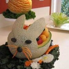 Bunny carved from cantelope