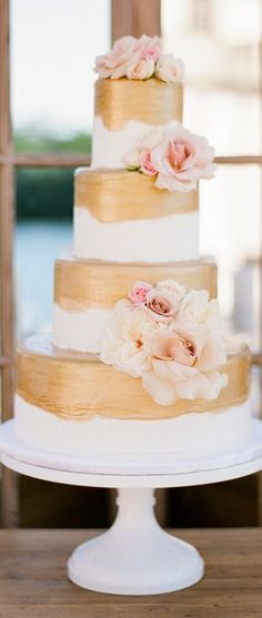 Love this painted look….Trendy Wedding Cakes for You to Get Inspired! To see more: http://www.modwedding.com/2014/09/20/trendy-wedding-cakes-get-inspired/