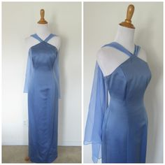 Vintage Women's 6 8 Med Blue Satin Chiffon Column Dress Gown #Unknown #Sheath #Formal