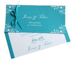 """Einladung Hochzeit """"Türkis elegant"""" von moments-events auf DaWanda.com"""