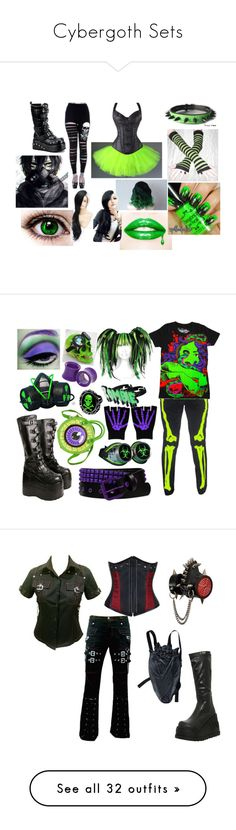 """Cybergoth Sets"" by candy-coated-doom ❤ liked on Polyvore featuring cybergoth, GAS Jeans, Demonia, Iron Fist, Kreepsville 666, ELSE, Hot Topic, CO, Max Studio and Manic Panic NYC"