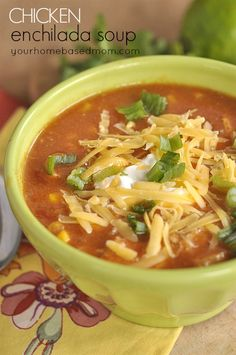 Chicken Enchilada Soup Recipe ~ Says: This soup tastes just like an enchilada!