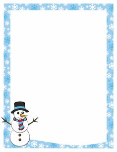 Free snowman border templates including printable border paper and clip art versions. Page Borders Free, Page Borders Design, Border Design, Borders For Paper, Borders And Frames, Free Christmas Borders, Page Boarders, Printable Border, Printable Labels