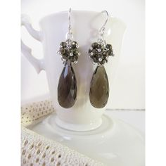 Smoky Quartz Earrings, Smoky Quartz Briolette Earrings, Faceted Pyrite... (€89) ❤ liked on Polyvore featuring jewelry, earrings, sterling silver jewelry, sparkly earrings, sparkling jewellery, precious stone earrings and facet jewelry