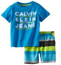 Calvin Klein Baby-boys Infant Tee with Striped Shorts
