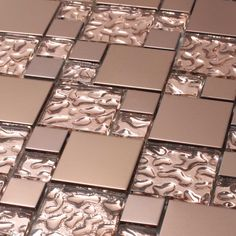 Giorbello Venetian Random Sized Glass and Aluminum Mosaic Tile in Copper Goddess Mosaic Tiles, Wall Tiles, Glass Tiles, Tiling, Tin Tiles, Mosaic Bathroom, Mosaic Wall, Mosaic Glass, Küchen Design
