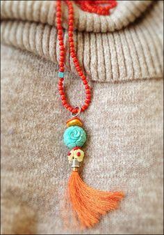 The tassle necklace orange. by almafashionjewelry on Etsy