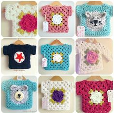 Instagram @rubyandthesquirrel - Crochet girl's top ideas for inspiration only. Crochet Baby Sweaters, Crochet Baby Cardigan, Crochet Baby Clothes, Baby Knitting, Granny Square Crochet Pattern, Crochet Granny, Knit Crochet, Crochet Patterns, Crochet Hats