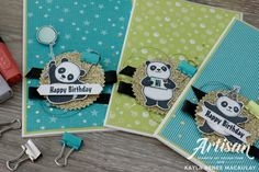 Party pandas in corner Kids Birthday Cards, Birthday Greeting Cards, Panda Party, Sympathy Cards, Kids Cards, Homemade Cards, Stampin Up Cards, Cardmaking, Paper Crafts