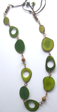 Tropical Celebration! Long Tagua necklace in Rich Earthy Greens