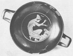 Medaglione centrale di una coppa ateniese a figure rosse. Una giovane nuda inginocchiata depone una corona su un altare. Le fiamme e la corona sono dipinte in rosso. Tardo VI secolo a.C.