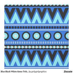 Tissu élégant tribal aztèque blanc de noir bleu