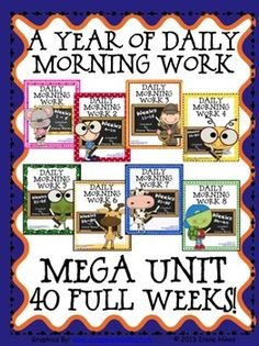 A Year Of Daily Morning Work Mega Unit: All 8 Activity Pack Sets for Weeks #1 - 40. {Based On Common Core Standards}   This is a combination of all 8 of my morning work activity packs for a full 40 weeks of daily morning work. *Language Arts and Mathematics Skills On Every Page! * You get 200 ready-to-use Morning Work Activity Sheets plus 200 teacher answer keys. $