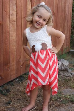 Chevron, and Lace high low dress in Coral Littles Collection