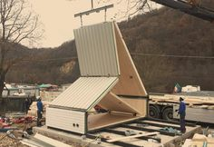 Once on site the installation of the home is relatively simple, as each module unfolds up...