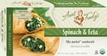 Spinach & #Feta Fillo Pocket Sandwich (5 oz.) - #Spinach, premium cheeses and onions, seasoned with garlic, lemon, dill and parsley, wrapped with Organic #Fillo dough in the shape of a hand-held rectangle. Microwavable. #Healthy: USDA #Organic, #Vegetarian, #Kosher OU-Dairy, No Trans-Fat. See nutrition or shop online at http://www.fillofactory.com/brands/brands-aunt-trudys.html. #Spanakopita