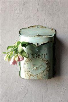 *Fave* 10-1/2W x 15-1/4H Embossed Tin Letter Box, Aqua #wholesale #home #decor