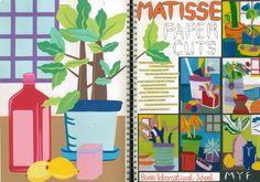 My Teaching Sketchbook: Mattise room interior paper cuts, year 9 A Level Art Sketchbook, Sketchbook Pages, Sketchbook Ideas, Primary School Art, High School Art, Elementary Art, Artist Research Page, Cityscape Art, Sketchbook Inspiration