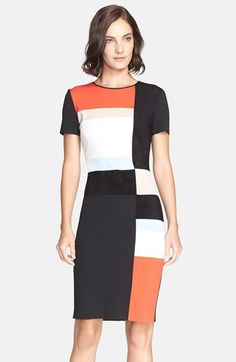 St. John Collection Colorblock Milano Knit Sheath Dress available at #Nordstrom
