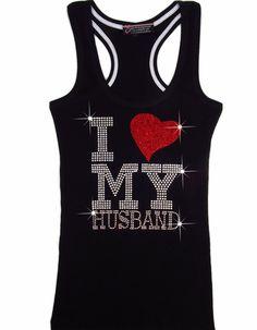 I Love My Husband Tank Top with Rhinestone Heart
