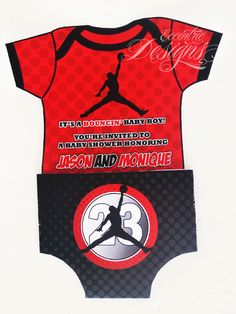 Air Jordan / Jumpman / Chicago Bulls / Michael Jordan - Baby Shower or First Birthday Party Invitation / Air Jordan Party / Air Jordan Party Theme / Air Jordan Party Ideas / Air Jordan Party Favors / Air Jordan Baby Shower / Air Jordan Baby / Air Jordan Baby Shower Theme / Red and Black / Boy