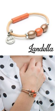 Natural Leather 3 Bead Bracelet with 2 Copper Shimmer Beads and a Centered Coral Colored Beads. Each Landella bead bracelet is made with Landella beads made entirely by hand in the U.S. Handmade by Landella